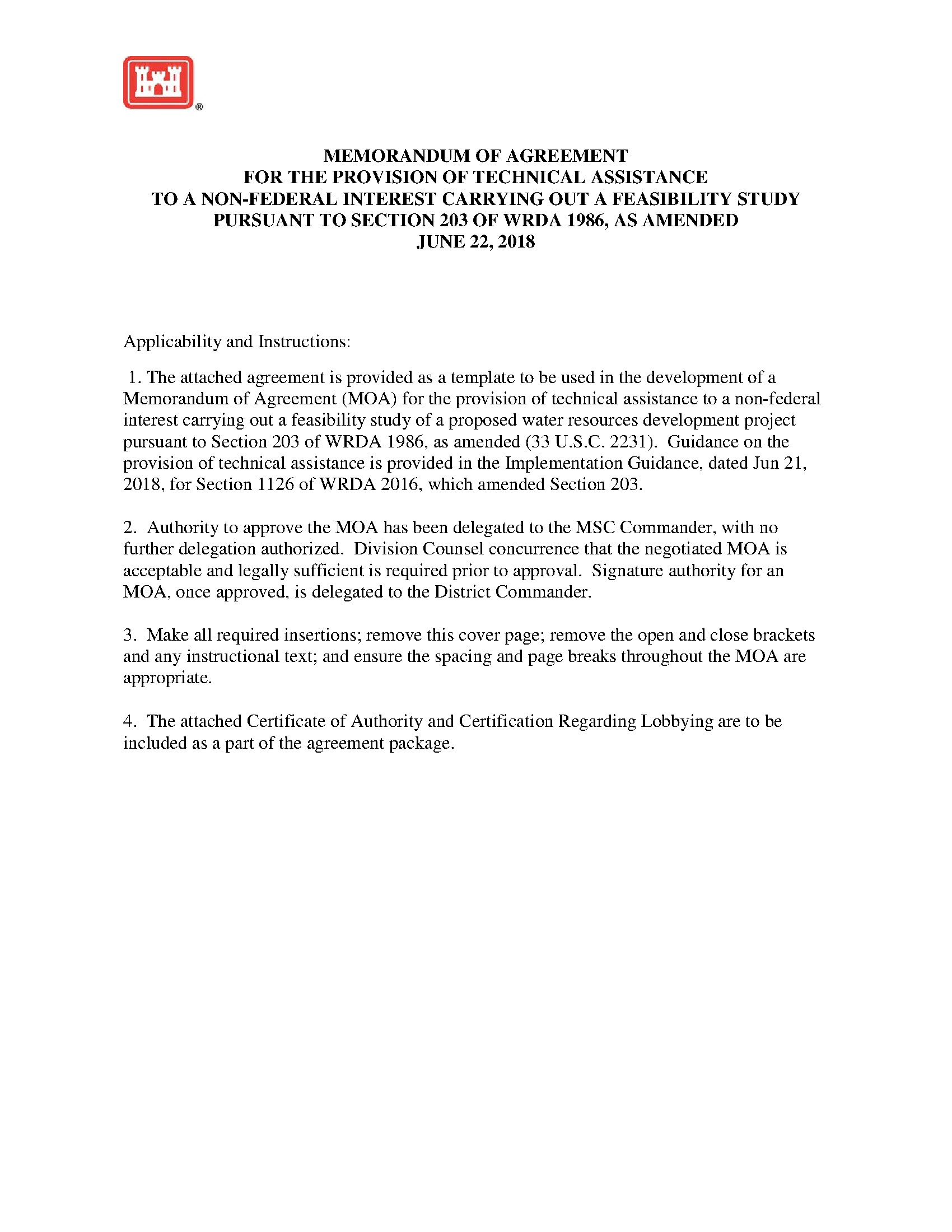 Memorandum Of Agreement For The Provision Of Technical Assistance To
