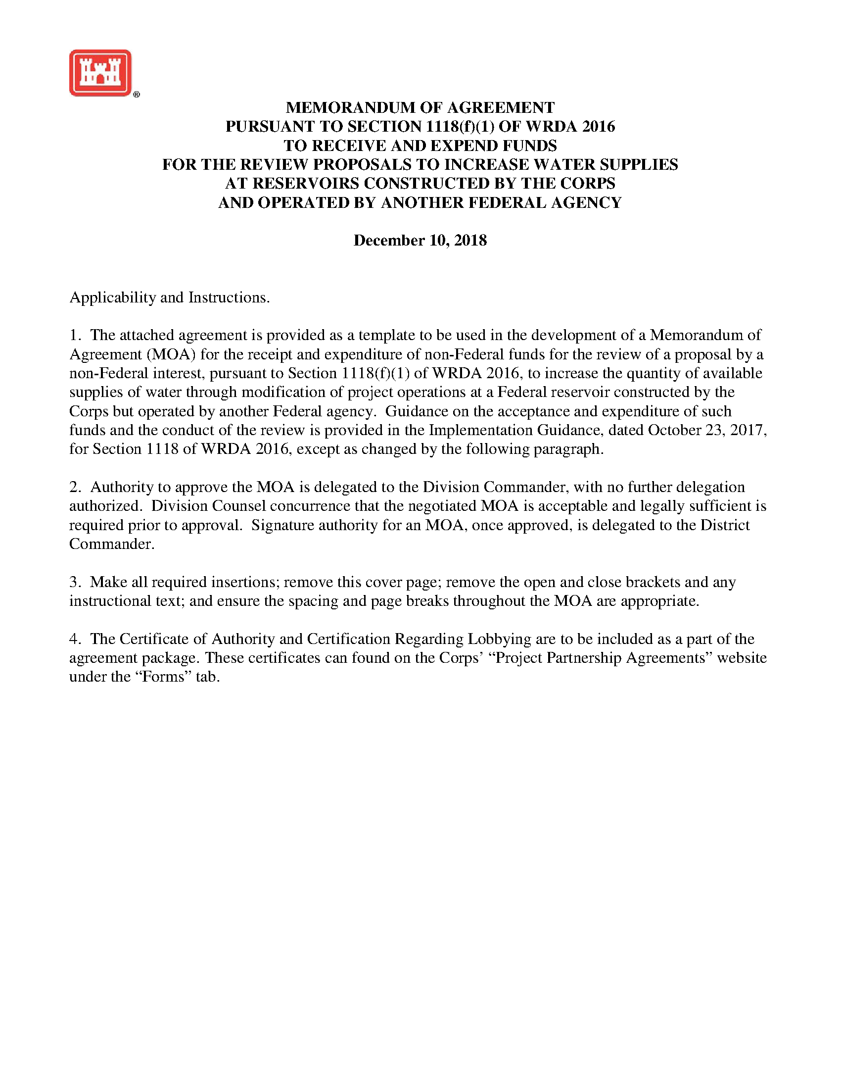 Memorandum Of Agreement Pursuant To Section 1118 F 1 Of Wrda 2016