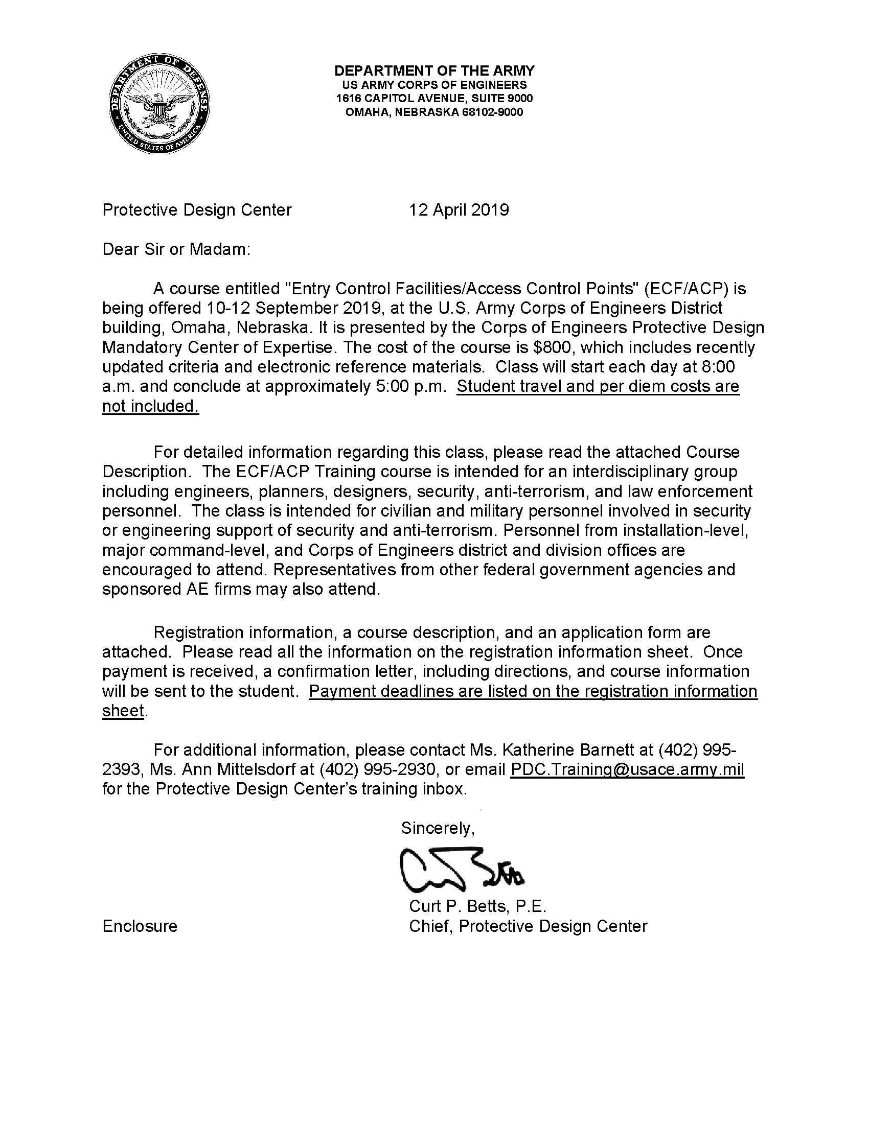 Letter regarding course entitled