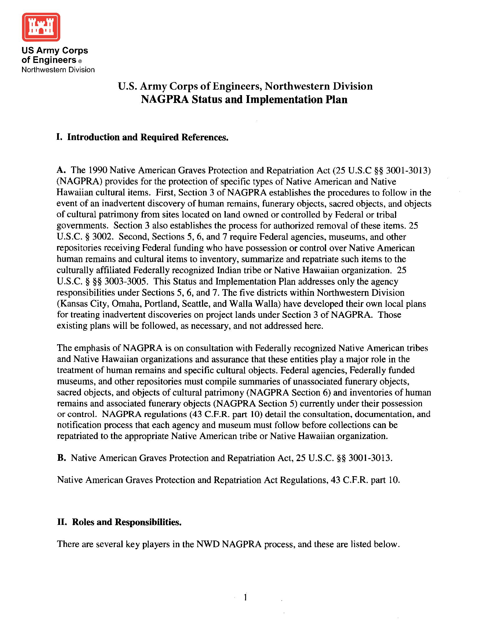 NAGPRA status and implementation plan - Booklets, Manuals