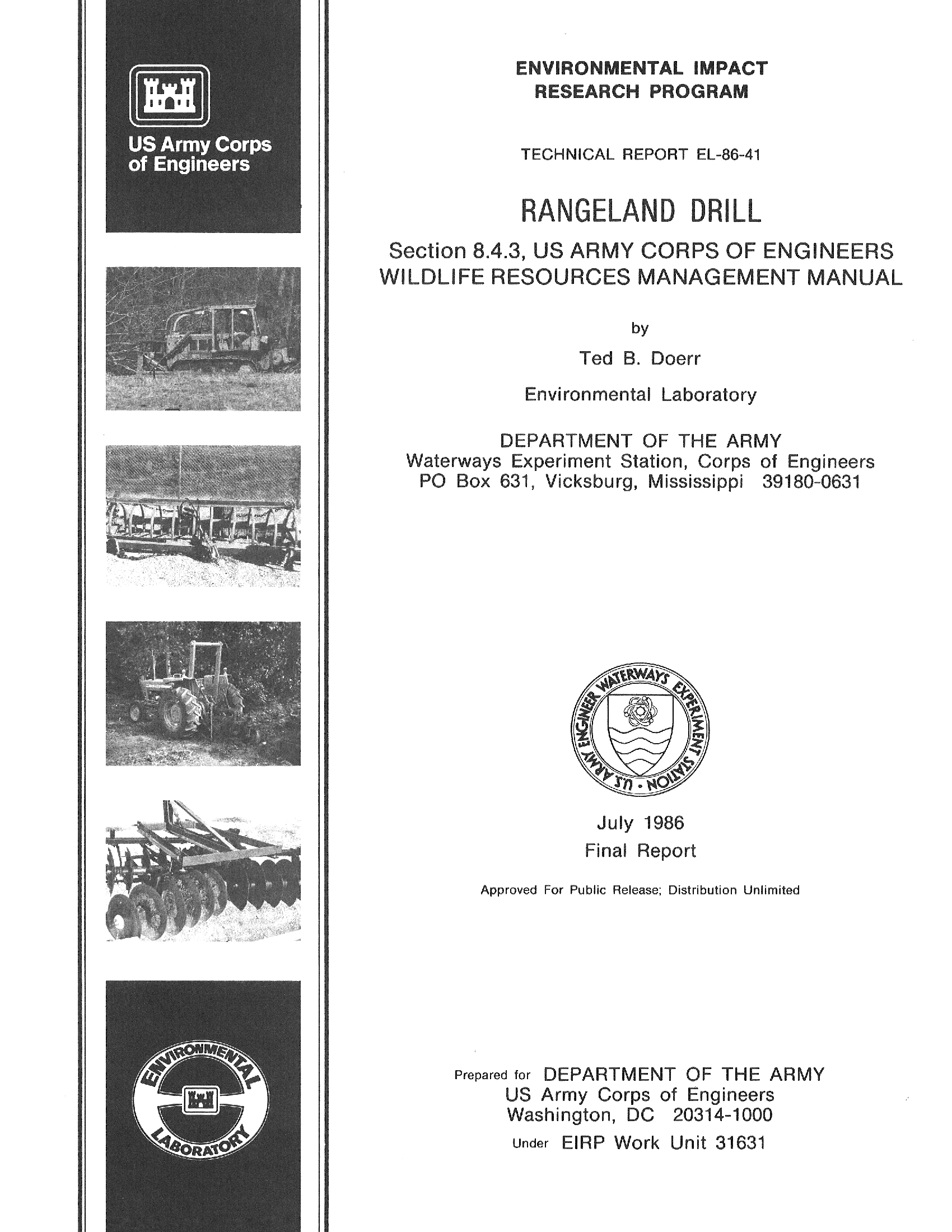 Rangeland drill: Section 8 4 3, US Army Corps of Engineers