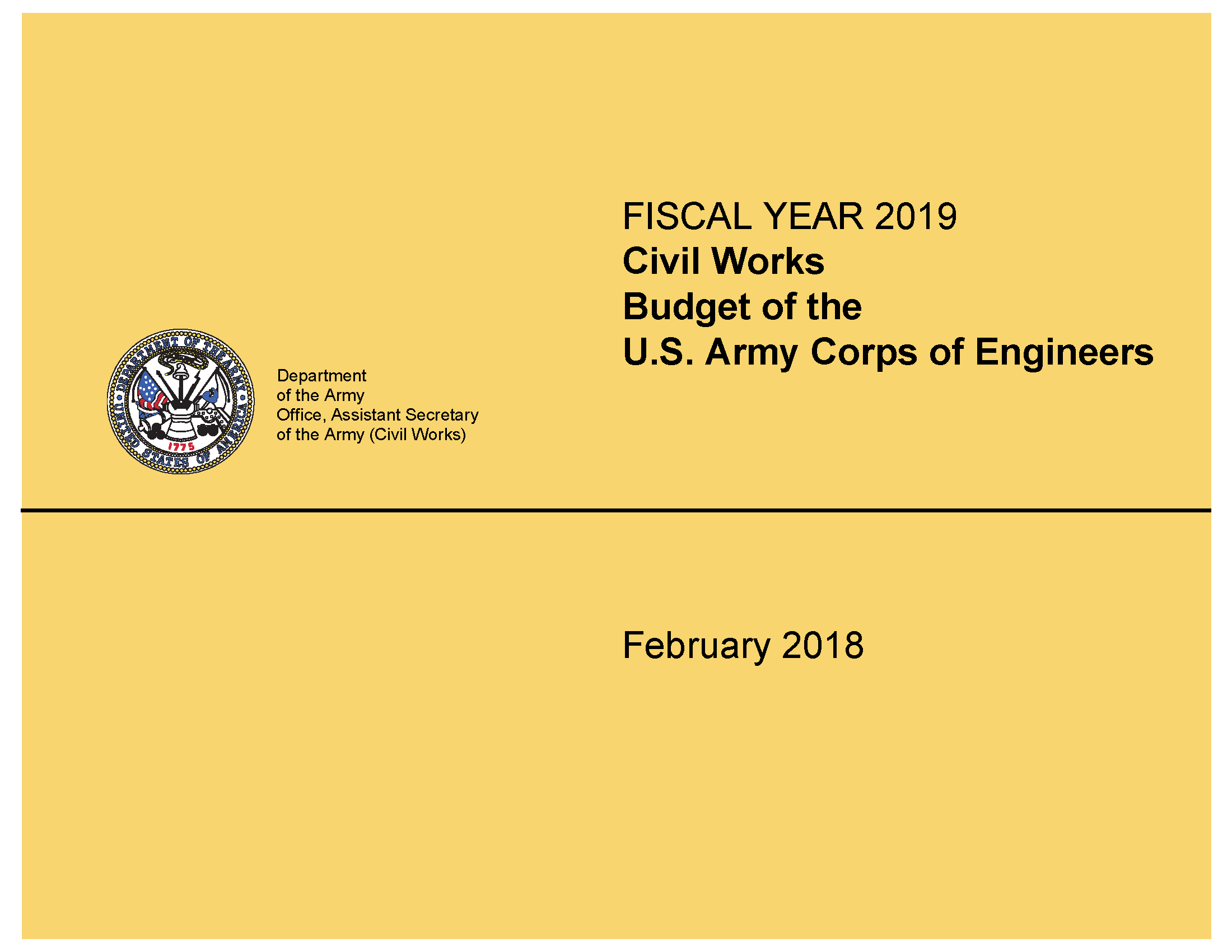 Civil Works budget of the U S  Army Corps of Engineers