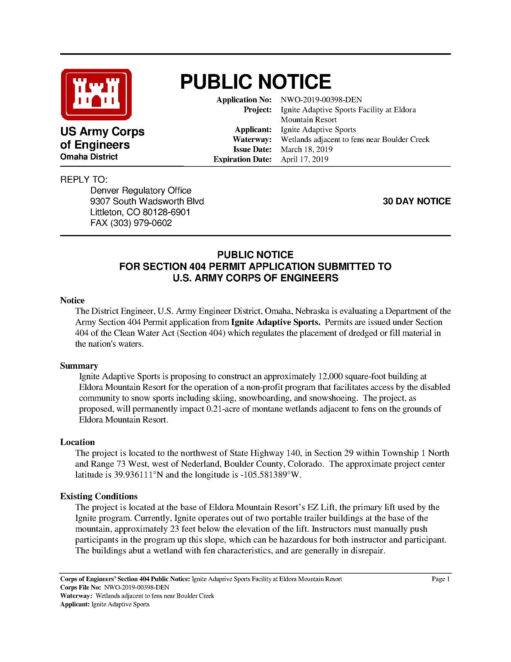 Public notice: Application no: NWO-2019-00398-DEN - Project