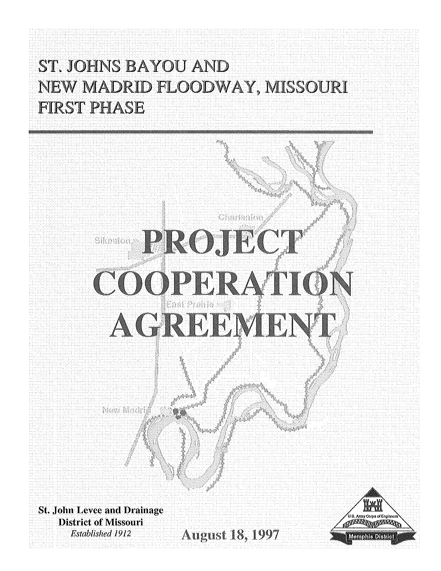 Project cooperation agreement between the Department of the Army and