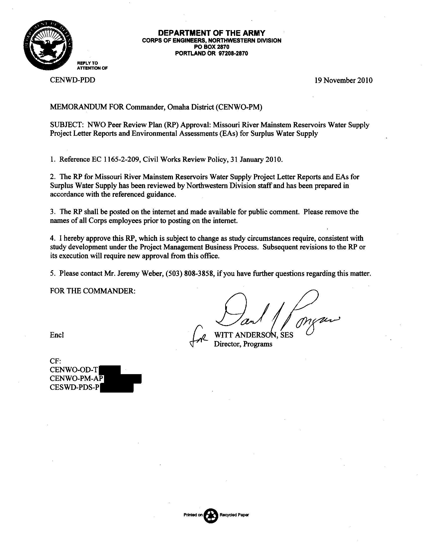 Memorandum for Commander, Omaha District (CENWO-PM): Subject