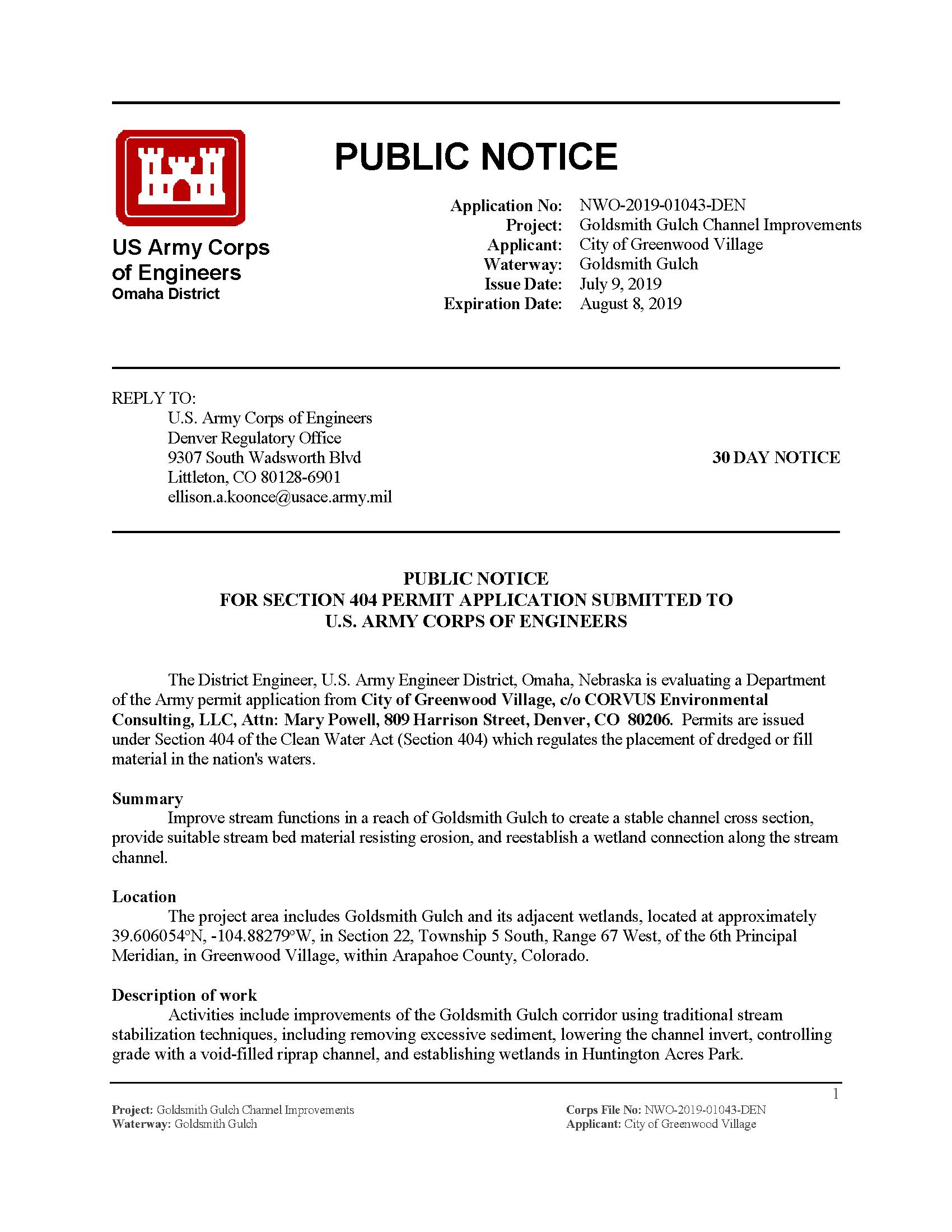 Public notice: Application no: NWO-2019-01043-DEN - Project