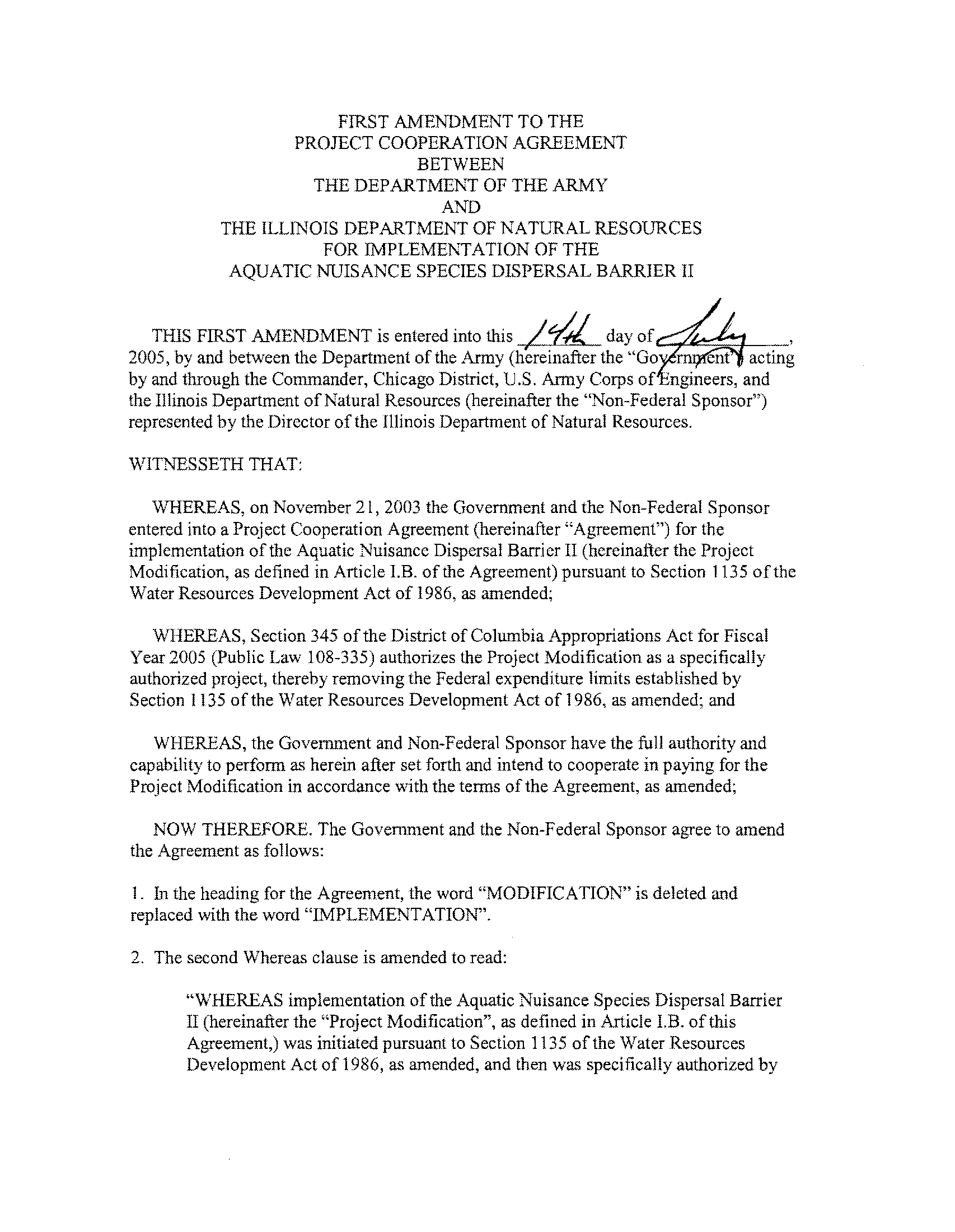 First Amendment To The Project Cooperation Agreement Between The