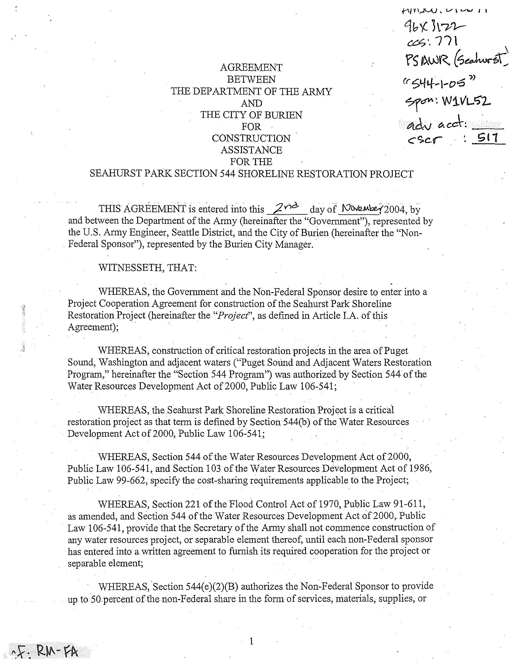 Agreement Between The Department Of The Army And The City Of Burien