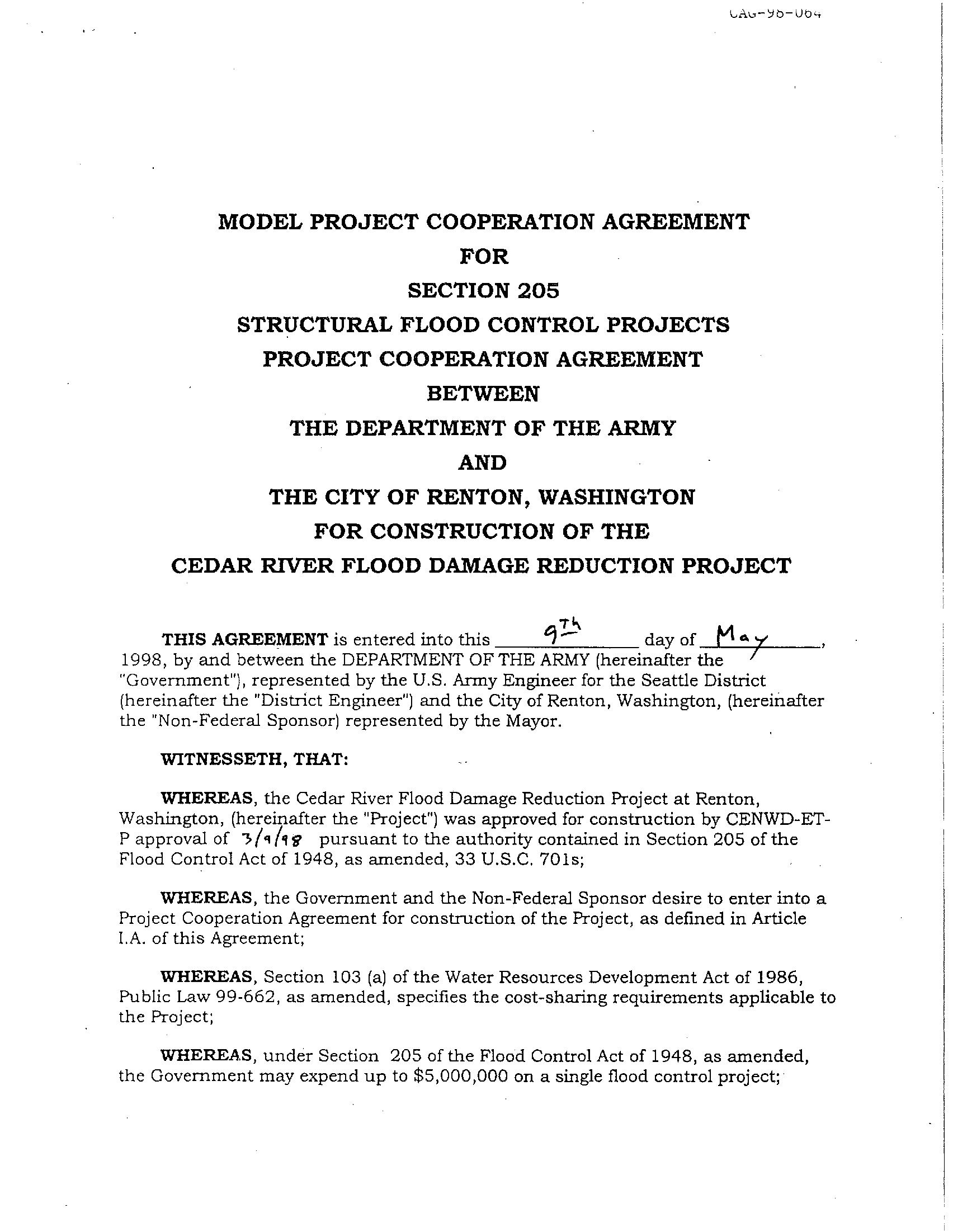 Model project cooperation agreement for Section 205 structural flood