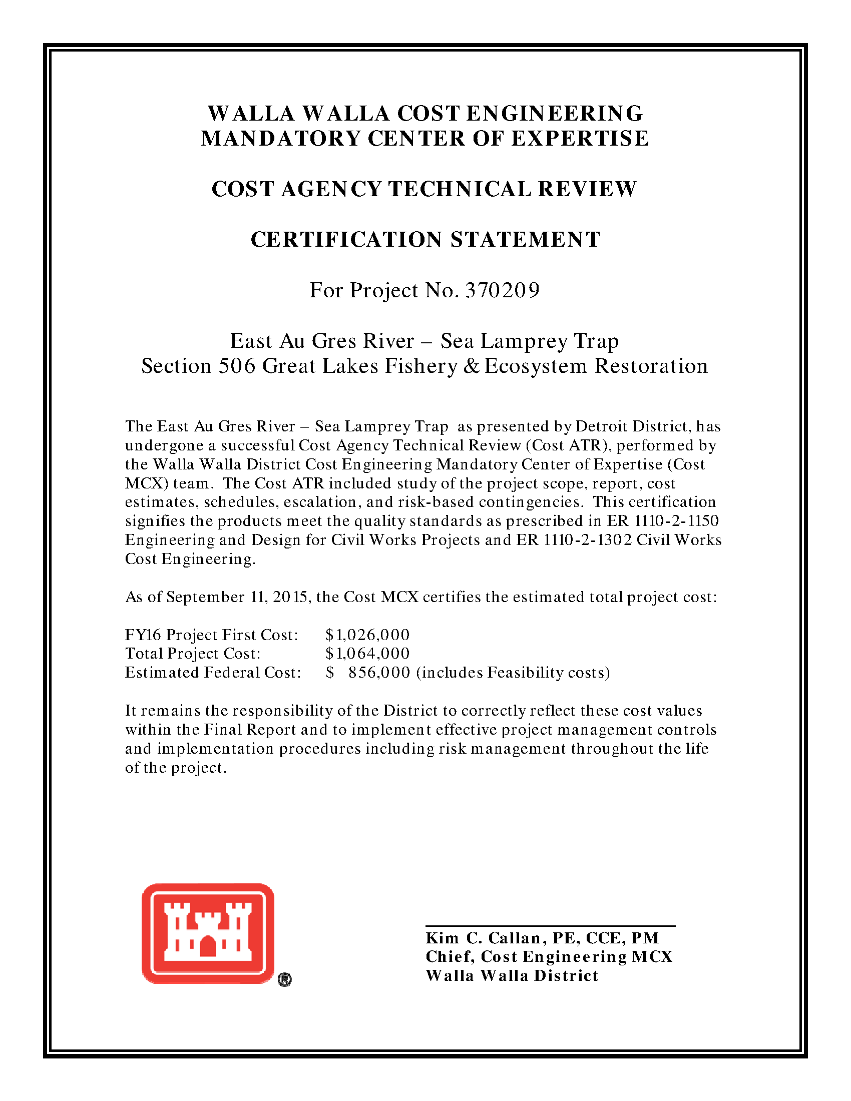 Appendix B Cost Appendix For Detailed Project Report For E Au Gres