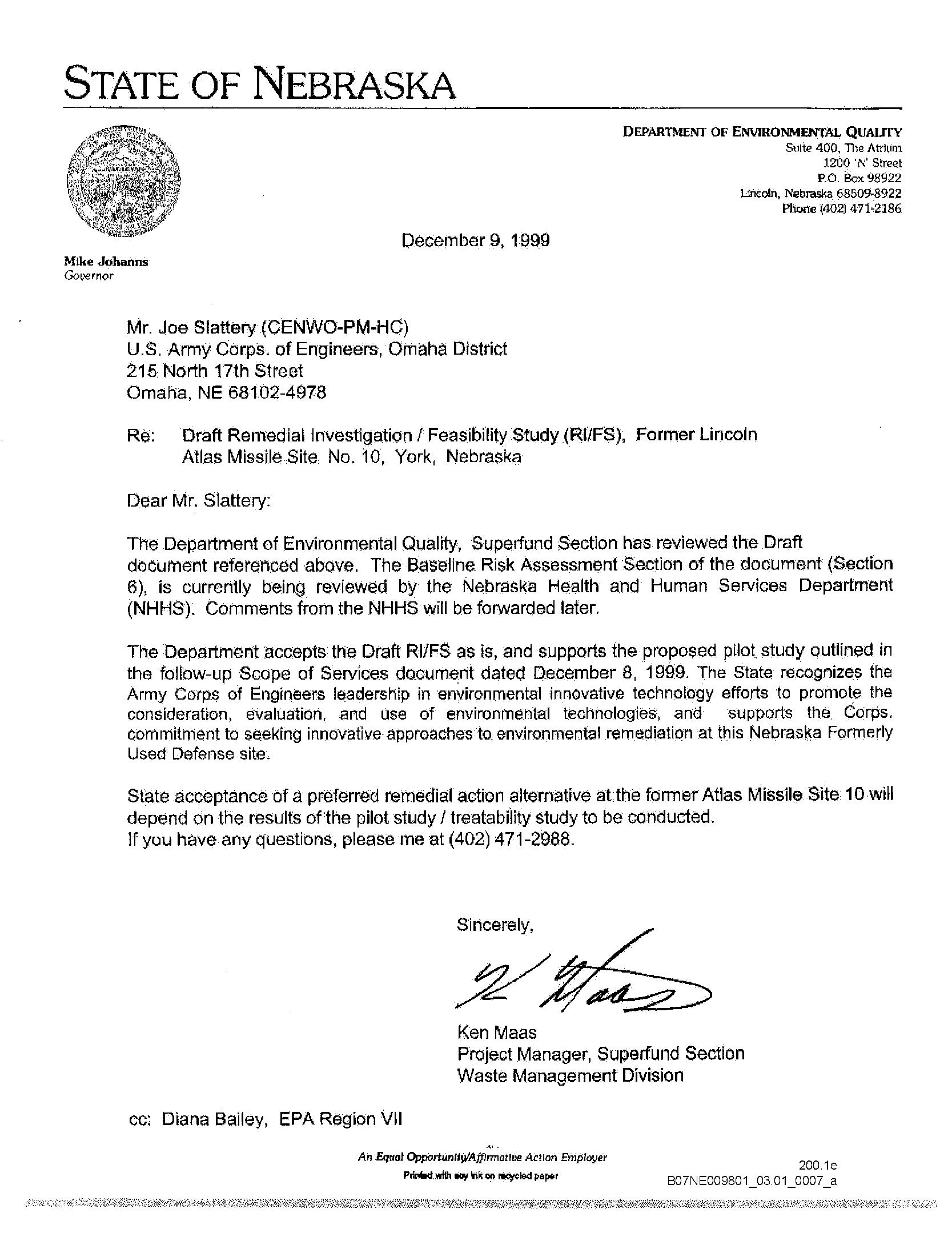 Re: Draft Remedial Investigation/Feasibility Study (RI/FS), Former