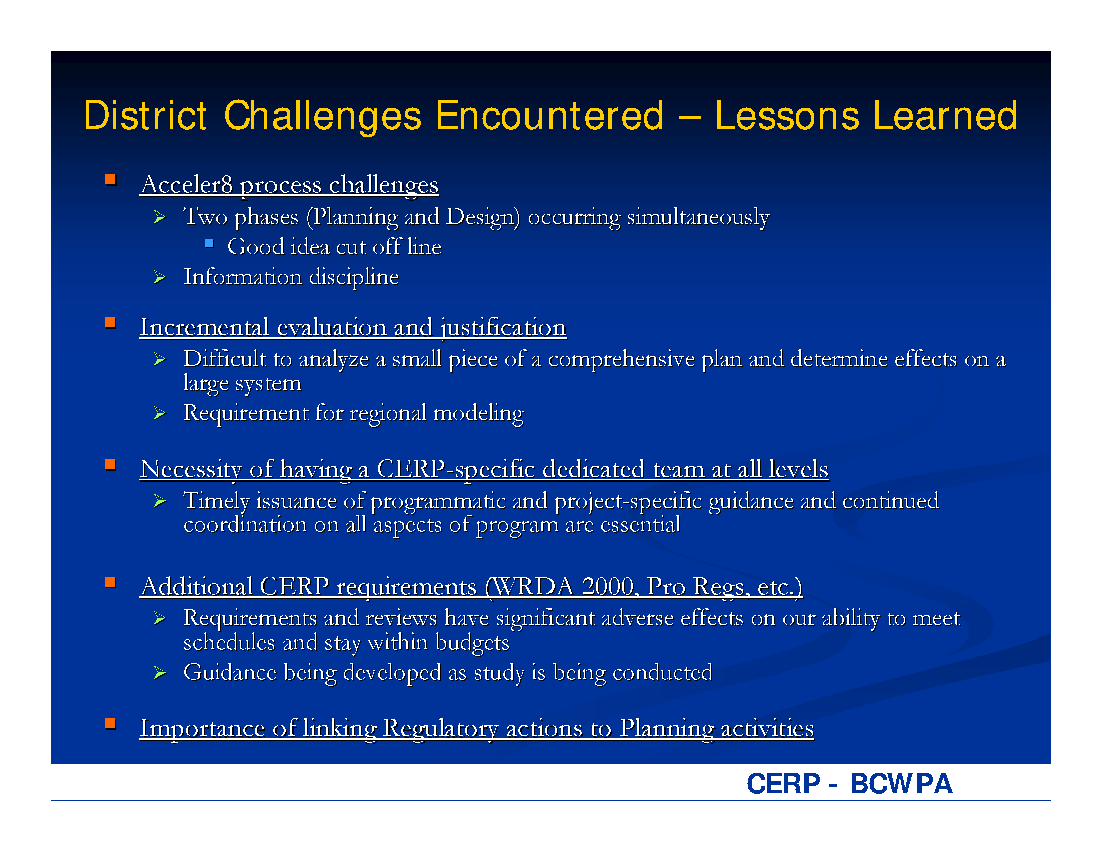 District Challenges Encountered Lessons Learned Project Management Reports Usace Digital Library