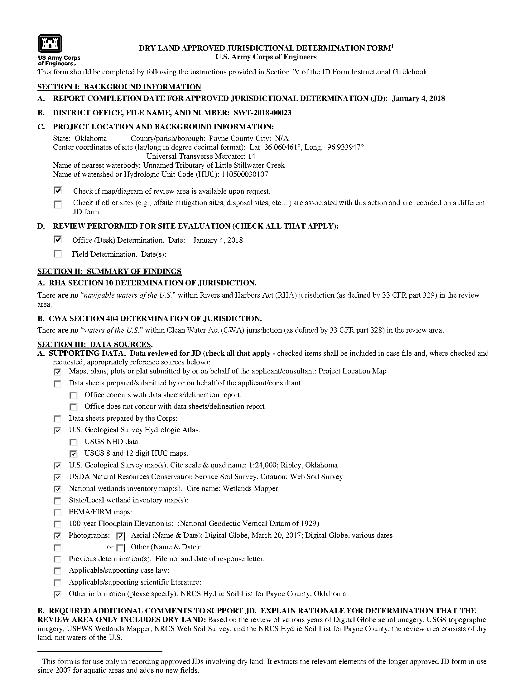 Dry land approved jurisdictional determination form - Project