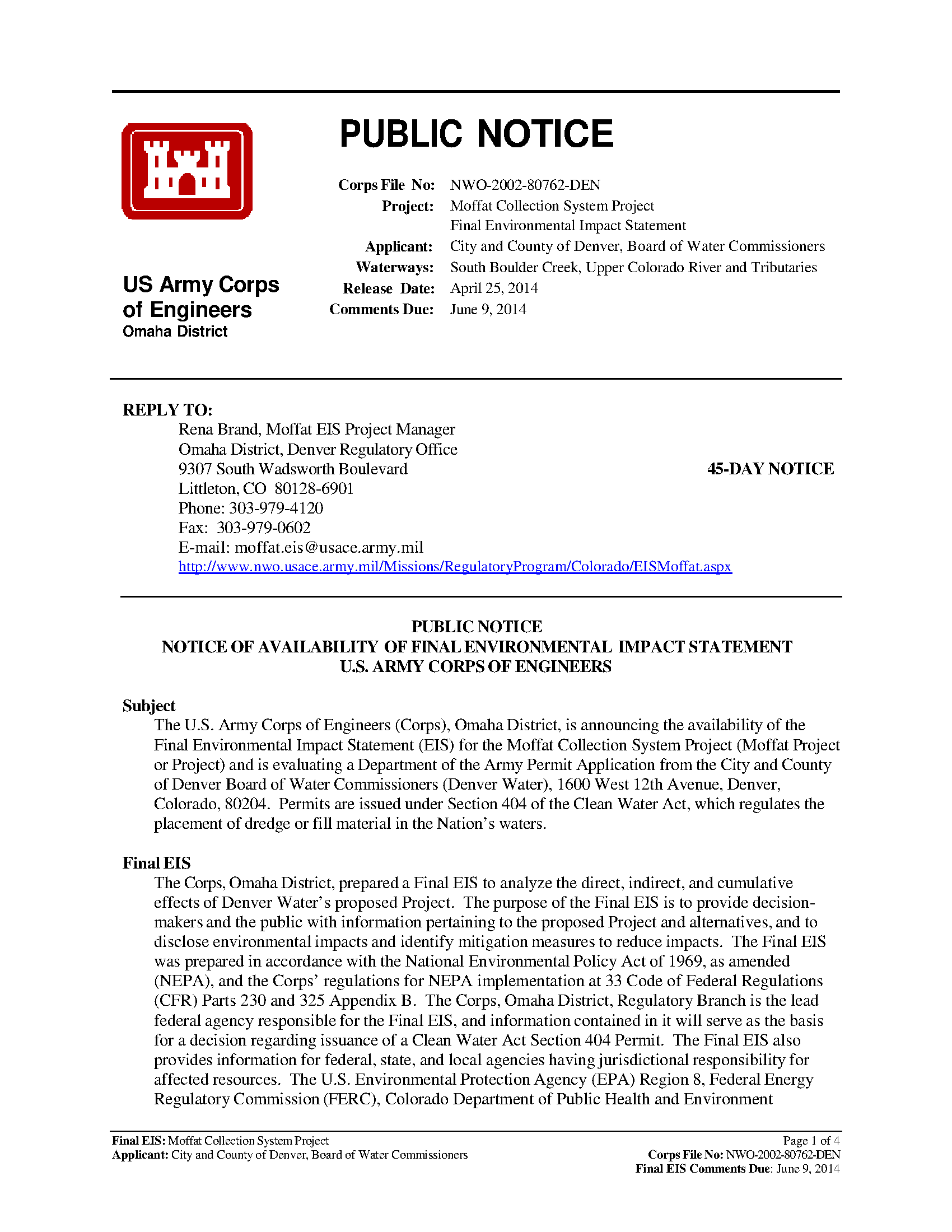Public Notice Project Management Reports Usace Digital Library