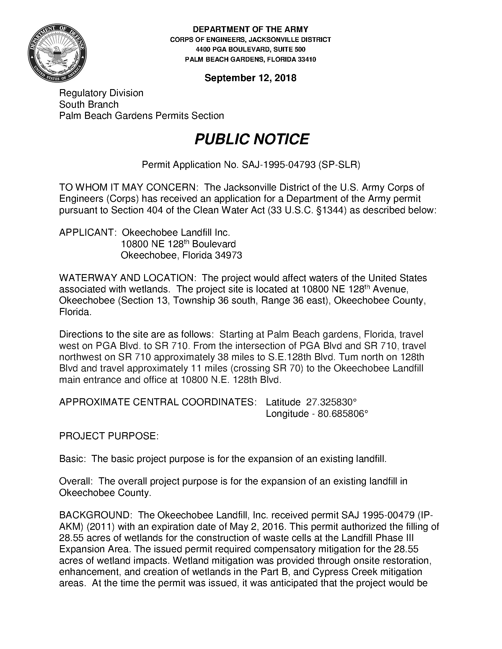 Public notice: Permit application no  SAJ-1995-04793 (SP-SLR