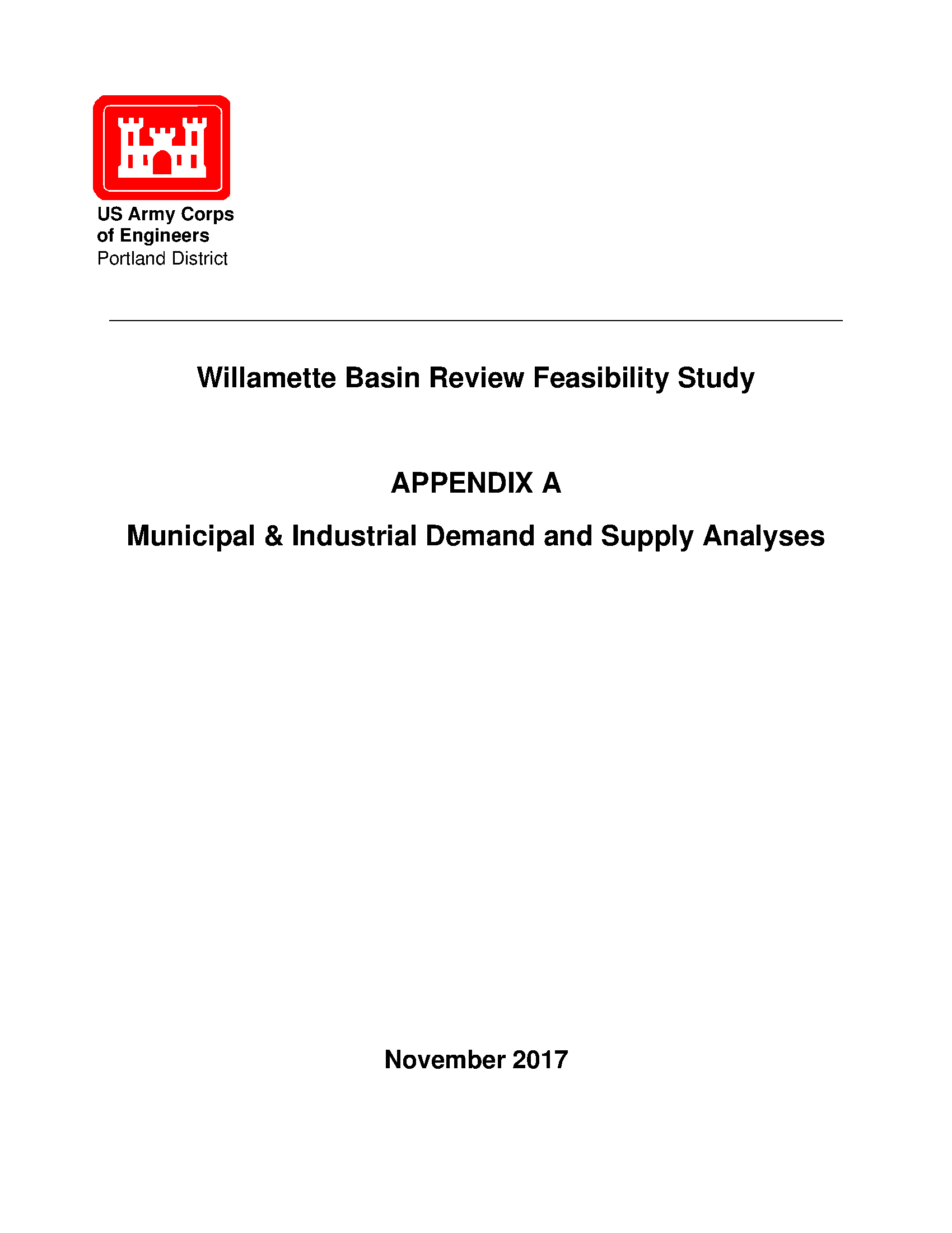 Willamette Basin Review Feasibility Study Appendices A K