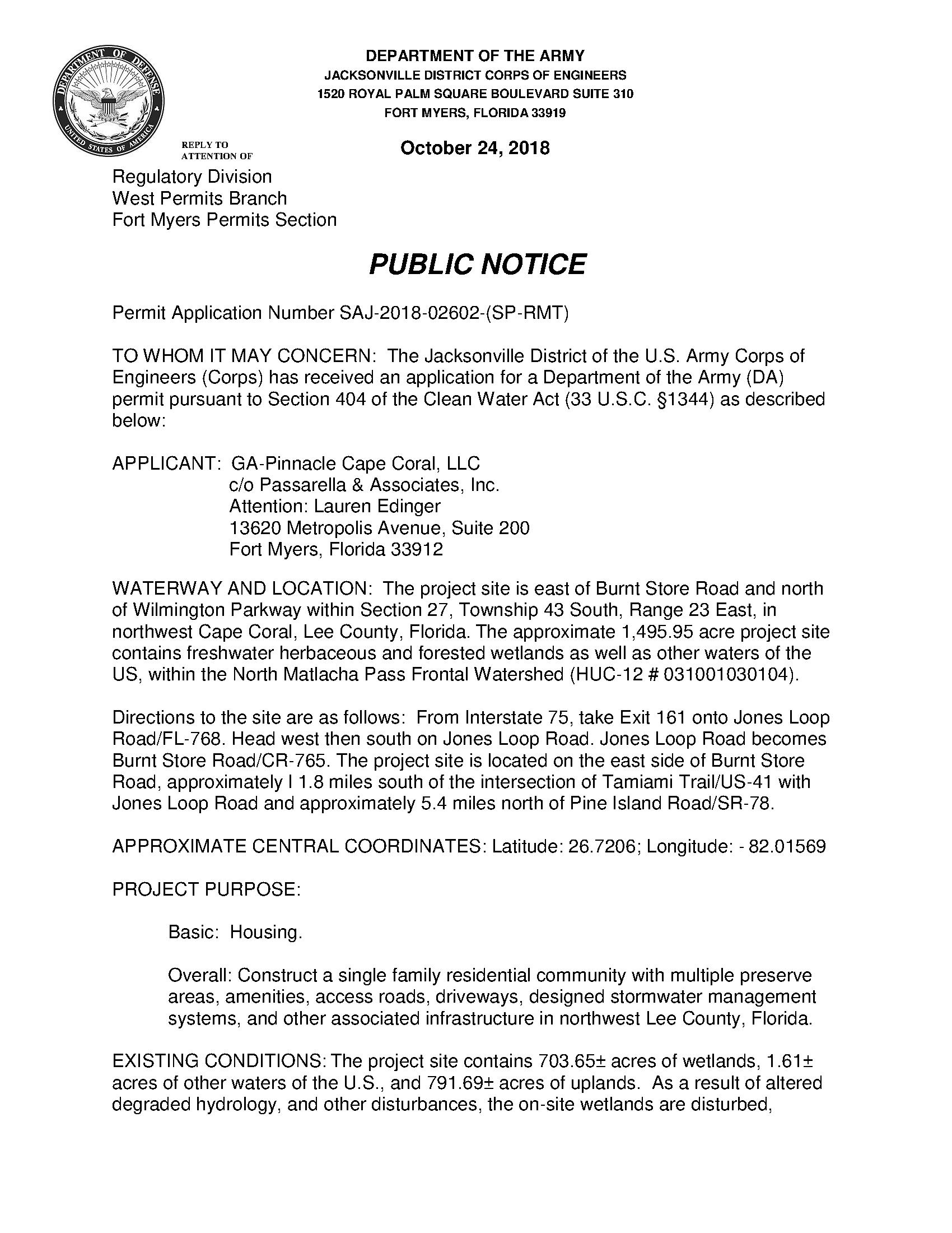 Public notice: Permit application number SAJ-2018-02602-(SP