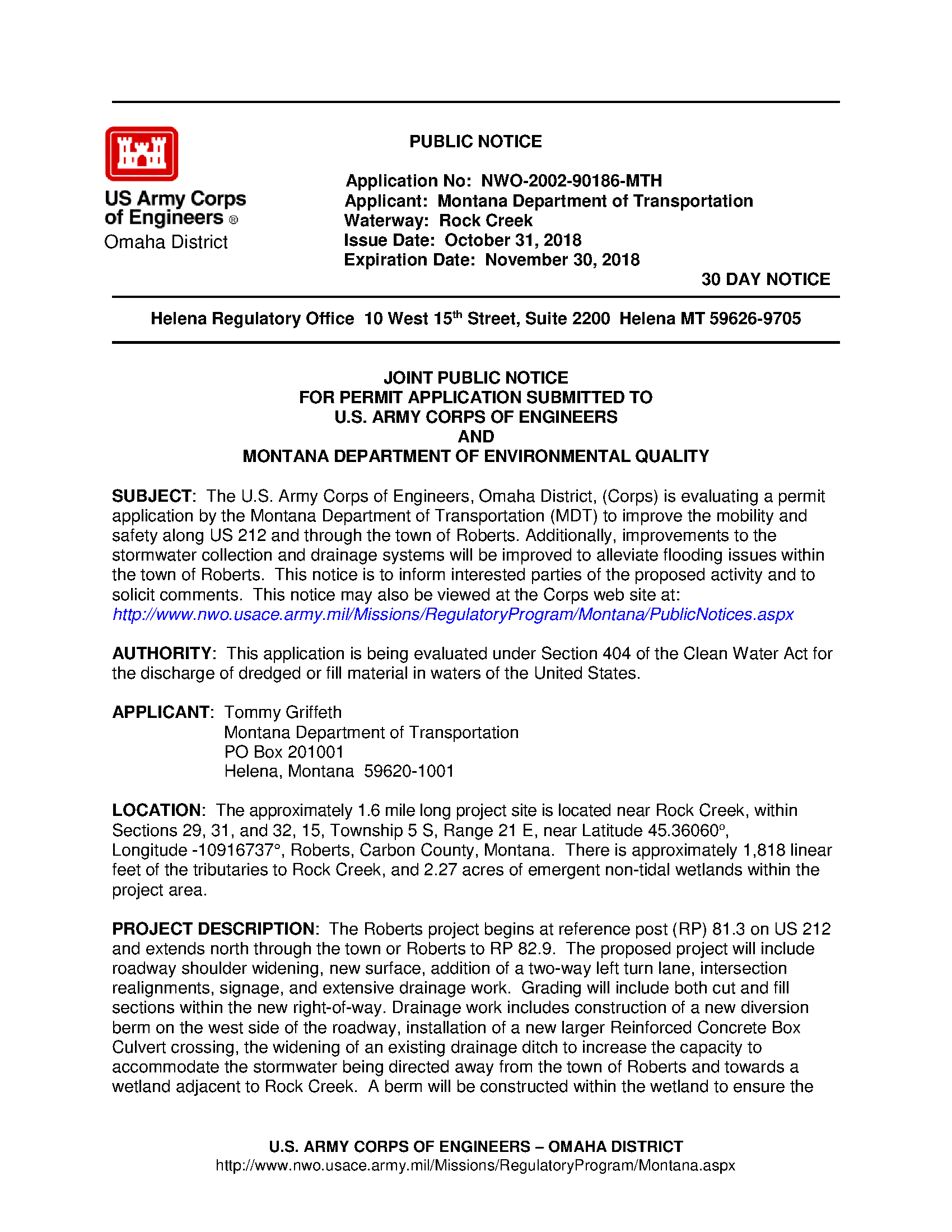 Public notice: Application no: NWO-2002-90186-MTH - Project