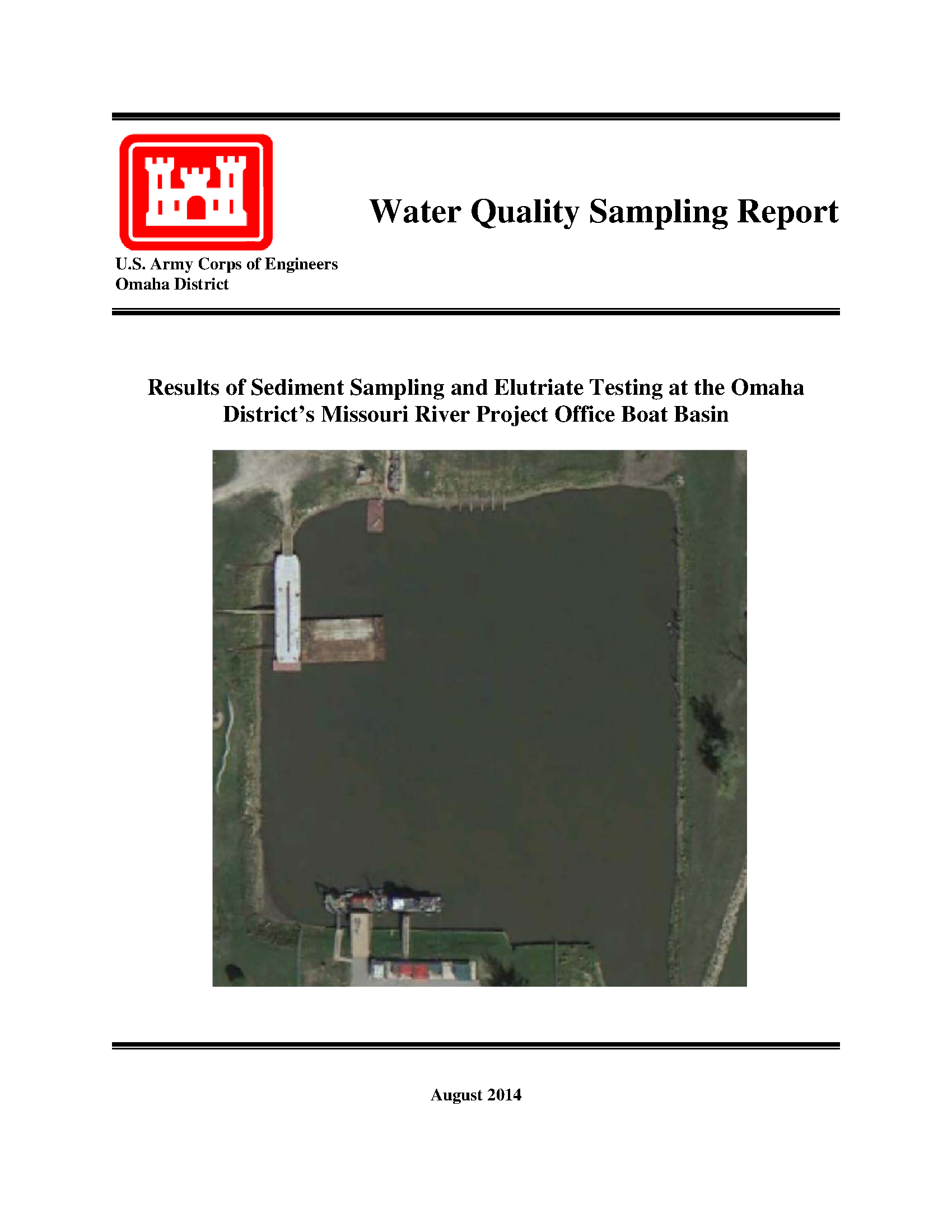 Water quality sampling report: Results of sediment sampling and
