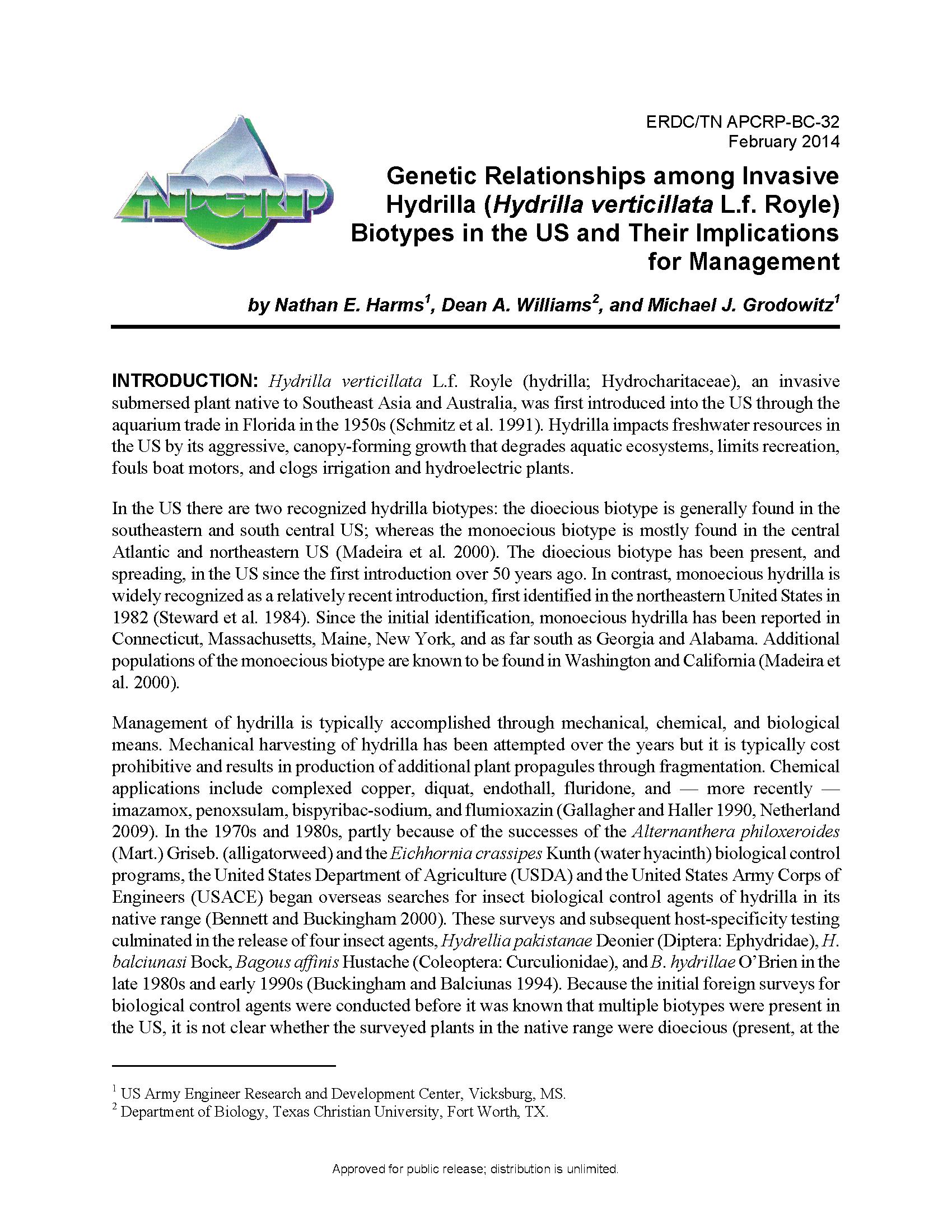 Genetic relationships among invasive hydrilla Hydrilla verticillata