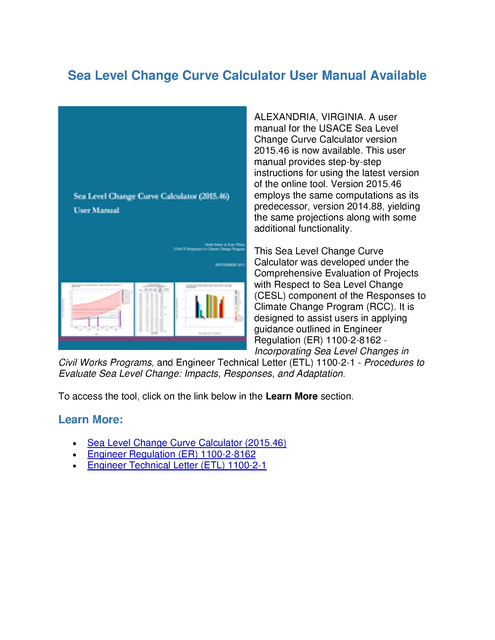Sea Level Change Curve Calculator User Manual Available Technical