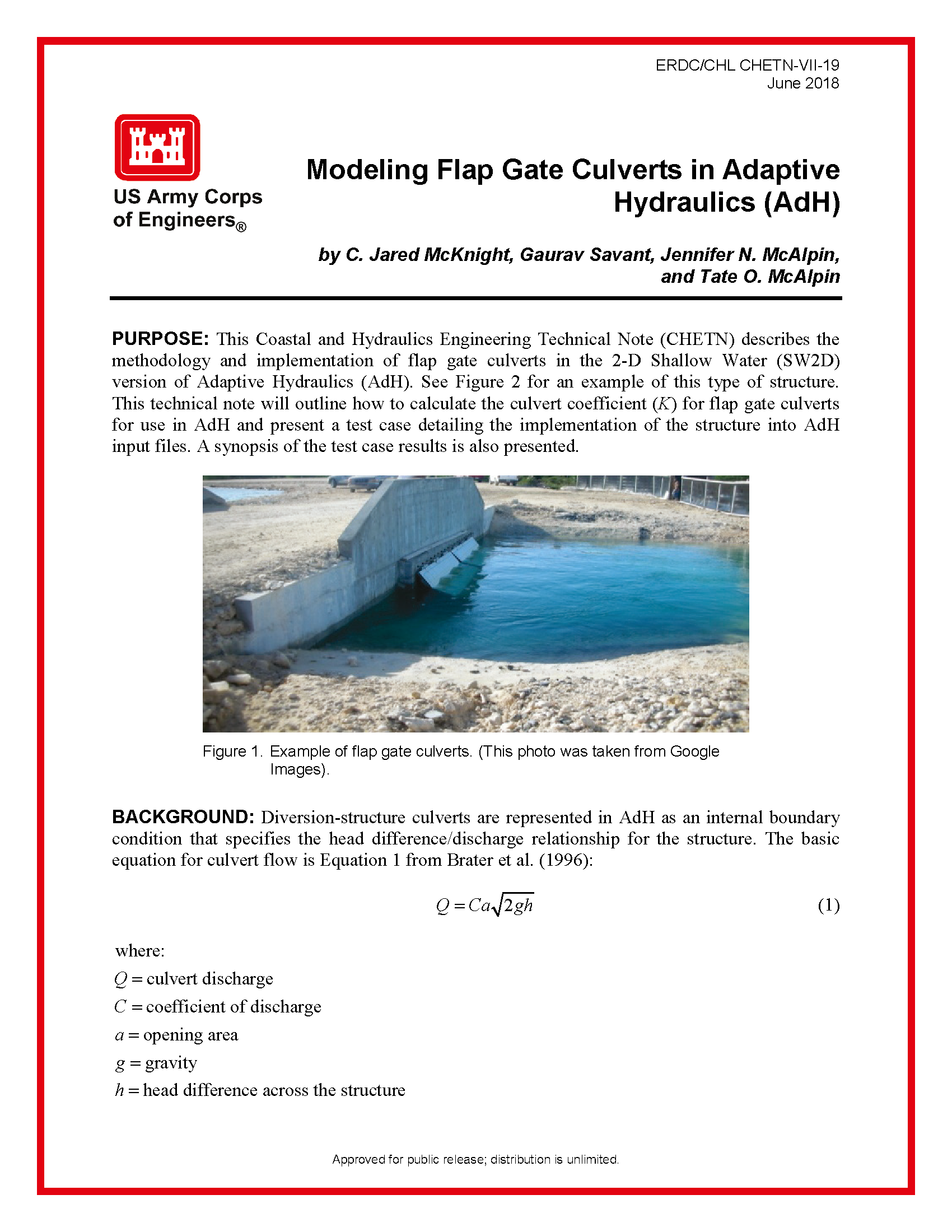Modeling flap gate culverts in Adaptive Hydraulics (AdH